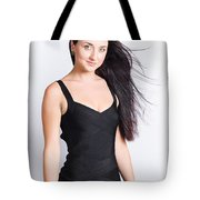 Beautiful Model With Long Straight Brunette Hair Tote Bag
