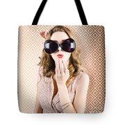 Beautiful Surprised Girl Wearing Big Sunglasses Tote Bag