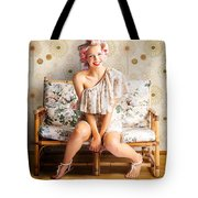 Beautiful Woman Getting New Hair Style At Salon Tote Bag