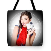Beautiful Woman Holding Home Video Camera Tote Bag