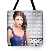 Beautiful Young Brunette Pin-up Woman  Tote Bag
