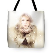 Beautiful Young Woman Blowing Snow In Winter Style Tote Bag