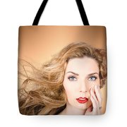 Beauty Portrait. Beautiful Woman And Long Red Hair Tote Bag