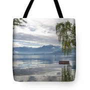 Bench With Trees On A Flooding Alpine Lake Tote Bag