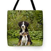 Bernese Mountain & Jack Russell Puppies Tote Bag