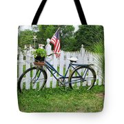 Bicycle And White Fence Tote Bag
