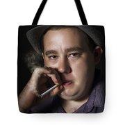 Big Mob Boss Smoking Cigarette Dark Background Tote Bag
