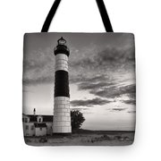 Big Sable Point Lighthouse In Black And White Tote Bag