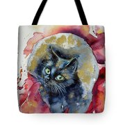 Black Cat In Gold Tote Bag