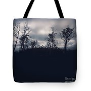 Black Silhouette Trees In Spooky Tasmanian Forest Tote Bag