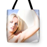 Blond Sports Girl Holding Surfboard Tote Bag