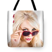 Blond Woman In Sunglasses Tote Bag