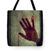 Bloody Hand On Window Tote Bag