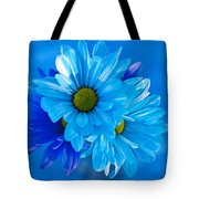 Blue Daisies In Vase Outdoors Tote Bag