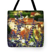 Blue Flowers And Rooftops In Sarlat Tote Bag