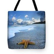 Blue Foam Starfish Tote Bag