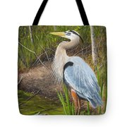 Blue Heron Tote Bag by Tammy Taylor