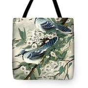 Blue Jays And Blossoms Tote Bag
