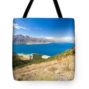 Blue Surface Of Lake Hawea In Central Otago In New Zealand Tote Bag