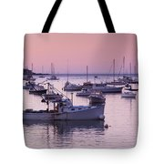 Boats In The Atlantic Ocean At Dawn Tote Bag