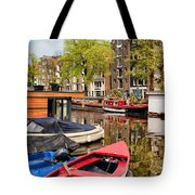 Boats On Canal In Amsterdam Tote Bag