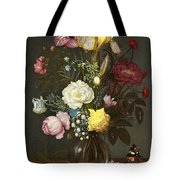 Bouquet Of Flowers In A Glass Vase Tote Bag