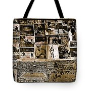 Boxing Collage Virginian Hotel Saloon Medicine Bow Wyoming 1971-2008 Sepia Toned Tote Bag