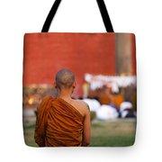 Buddhist Monk At Lumbini In Nepal Tote Bag by Robert Preston