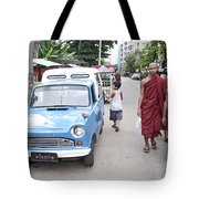 Buddhist Monks In Yangon Street Myanmar Tote Bag