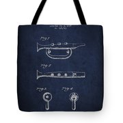 Bugle Call Instrument Patent Drawing From 1939 - Navy Blue Tote Bag