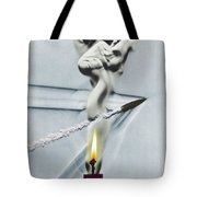 Bullet Shot Through Candle Flame Tote Bag by Science Source