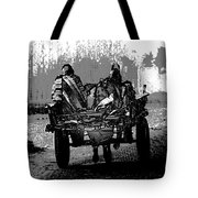 Bundled Up For The Cold In A Foggy Day In Rural India Tote Bag