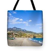 Burriana Beach In Nerja Tote Bag