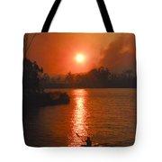 Bushfire Sunset Over The Lake Tote Bag