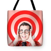 Business Man In Fear On Target Background Tote Bag
