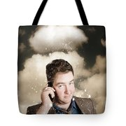 Businessman Having Bad Day. Communication Trouble Tote Bag