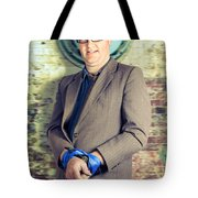Businessman In Stress With Hands Bound Up Tote Bag