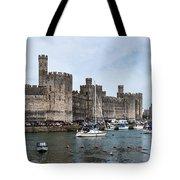 Caernarfon Castle Panorama Tote Bag