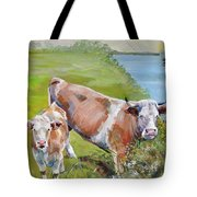 Cow And Calf Tote Bag