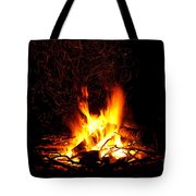 Campfire As A Symbol Of Warmth And Life On Black Tote Bag