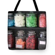 Candy In Container On Store Shelf Tote Bag