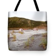 Canoe Tent Camp At Yukon River In Taiga Wilderness Tote Bag