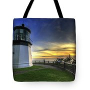 Cape Meares Lighthouse At Sunset Tote Bag