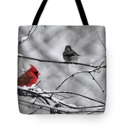Cardinal In Winter Tote Bag