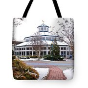 Carousel Building In The Snow Tote Bag by Tom and Pat Cory