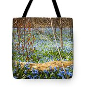 Carpet Of Blue Flowers In Spring Forest Tote Bag
