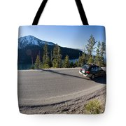 Cars Driving Along Hwy 89 Over Emerald Tote Bag