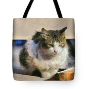 Cat On Chair Tote Bag