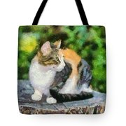 Cat On Tree Trunk Tote Bag