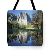 Cathedral Rock And The Merced River Tote Bag